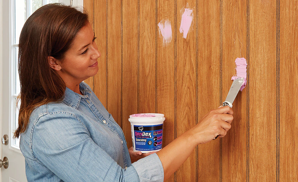 How To Paint Wood Paneling - Fill And Sand The Wood